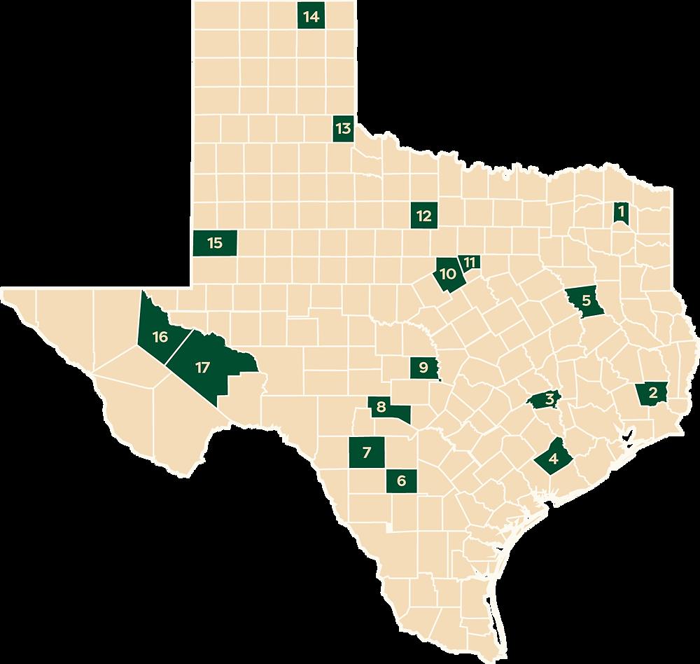 Rural Legal Aid Legal Clinic Locations - Texas Map