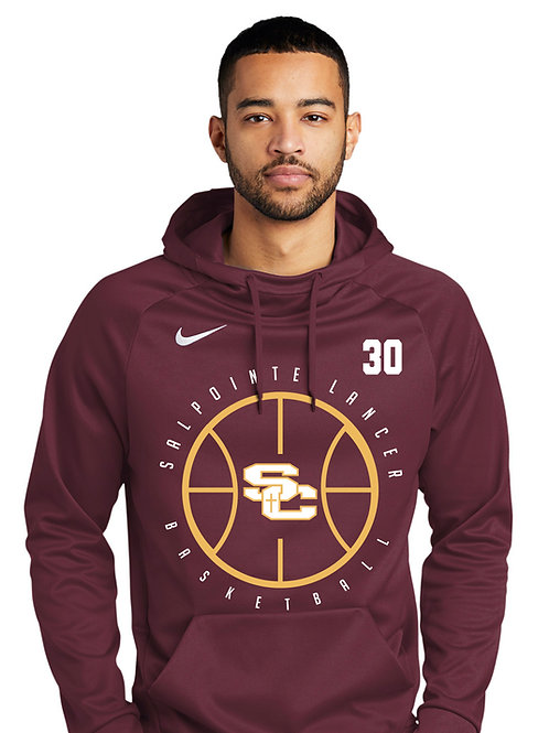 BBALL DESIGN MAROON Nike Therma-FIT Pullover Fleece Hoodie