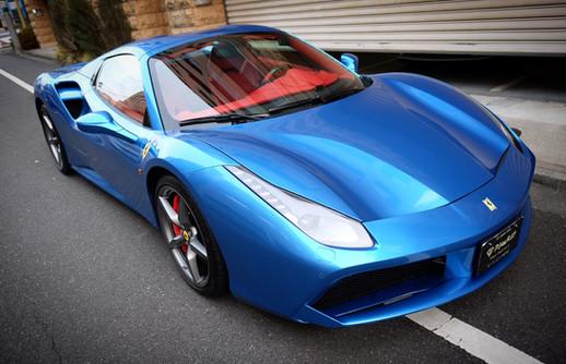 Ferrari フェラーリ 488 Spider スパイダー メタリックブルー フルラッピング