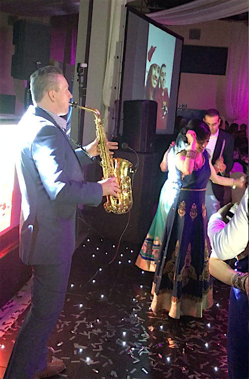 Playing at Vanisha and Jay's wedding reception