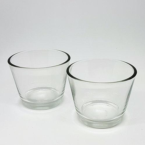 כוס זכוכית נמוכה לנר