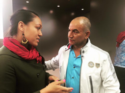 Face to face with Jake! ... PFF director Kalo Fainu meets Temuera Morrison following the screening o