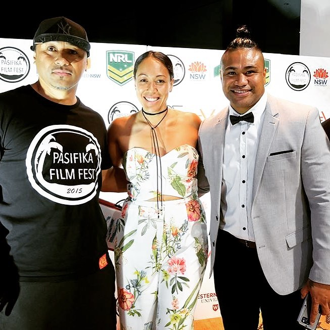 PFF Director's Nigel Vagana & Kalo Fainu with MC Junior Tia-Kilifi at the opening night of #PFF2016.