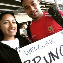 WELCOME BRUNO! The #Tongan winter Olympian has touched down in #Sydney ahead of tonight's AUSTRALIAN