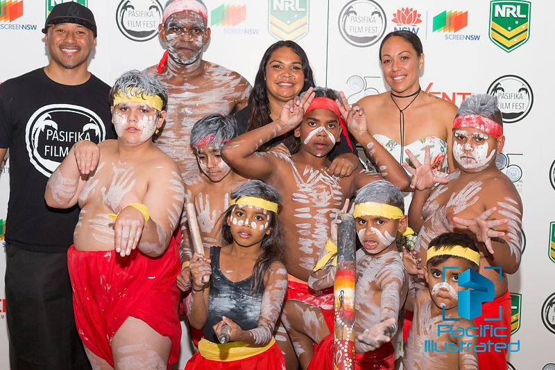 Directors Kalo Fainu Nigel Vagana with the dancers from the Tribal Warrior Association who opened up