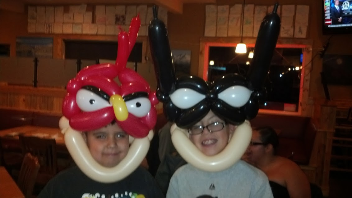 Angry bird and batman Balloon Animal