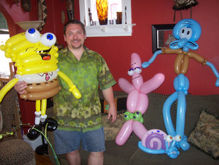 Sponge Bob, Squidward, Patrick the Starfish and Gary the snail, Birthday Party Balloon twisting