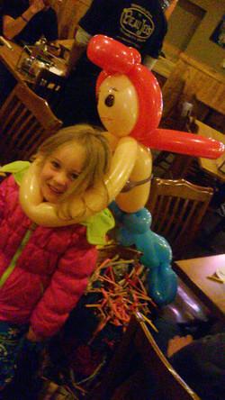 Ariel Mermaid princess balloon artist at Boulder beaujos restaurant