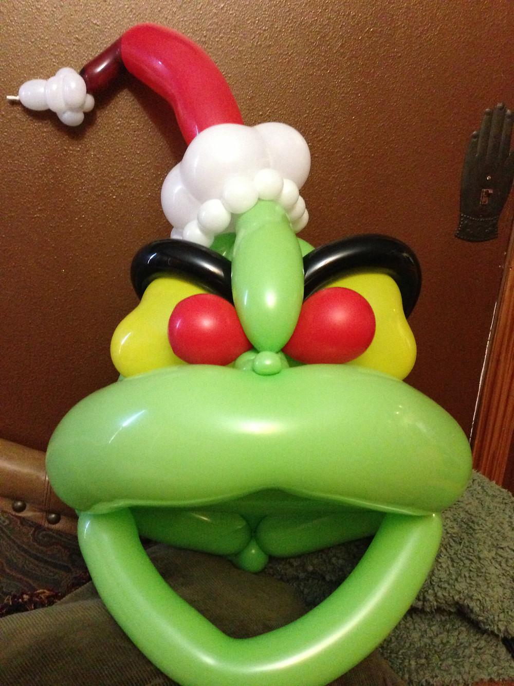 Grinch balloon animal mask