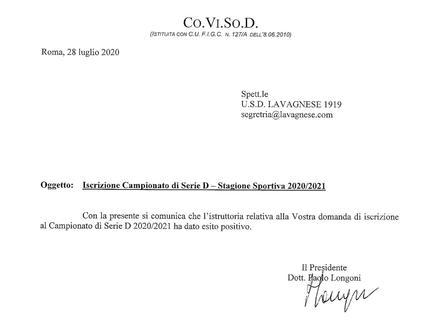 Iscrizioni: Lavagnese regolarmente iscritta al prossimo campionato nazionale di Serie D!