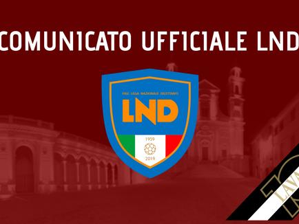 Comunicato Ufficiale Lnd: rinvio gare e calendario recuperi Serie D.