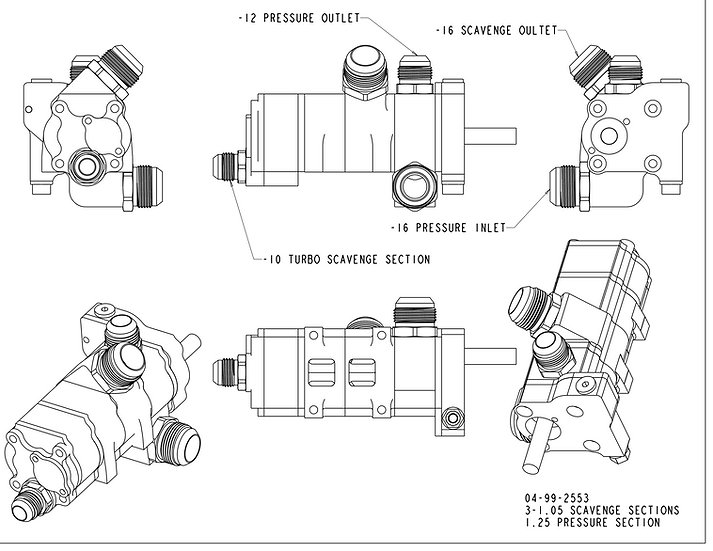 LS Production Y-Body, 4-Stage, Replacement Dry Sump Pump
