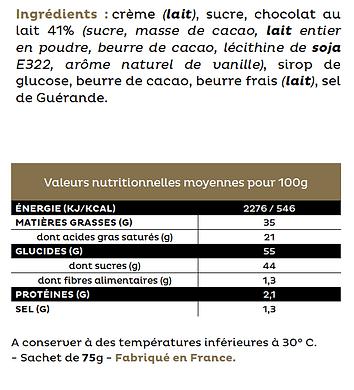 Les ingrédients du caramel parfum original