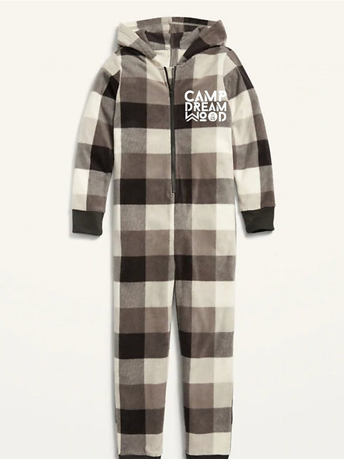 Micro Fleece Hooded Pajama One-Piece for Kids