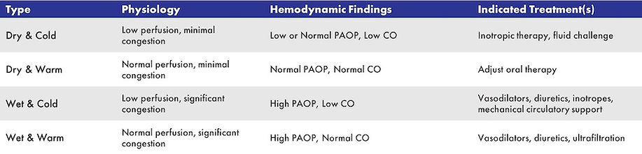 Use of hemodynamic measurements to guide therapy decisions in ADHF