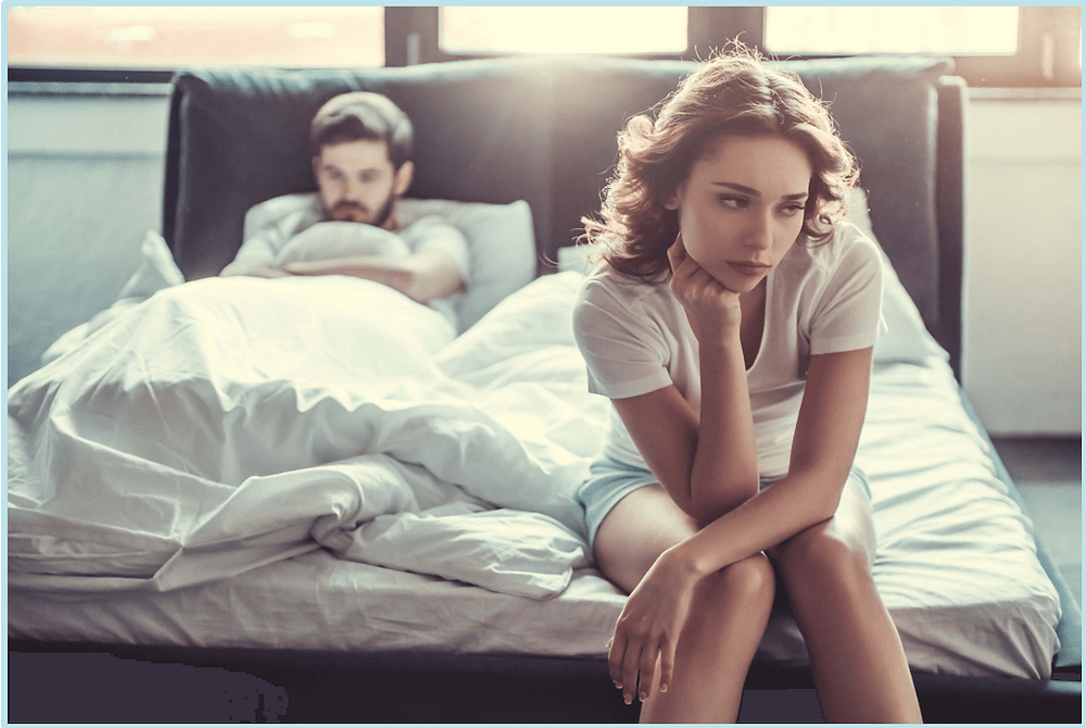 Woman experiencing fibroid pain during intercourse frustrated with partner