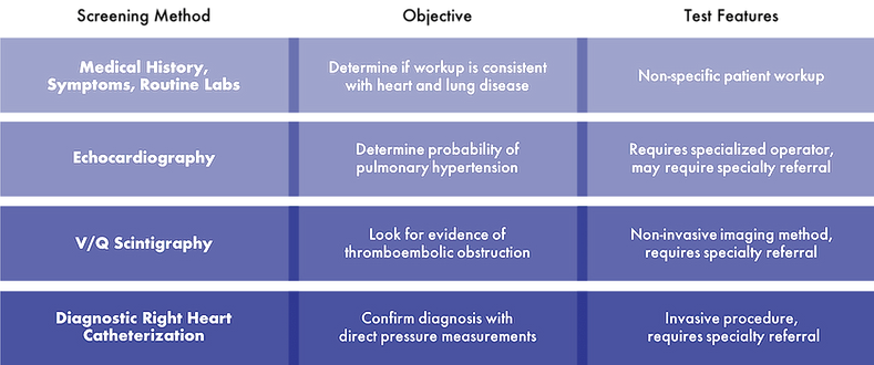 Screening procedures recommended to diagnosis of pulmonary hypertension