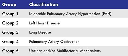 Classifications of pulmonary hypertension