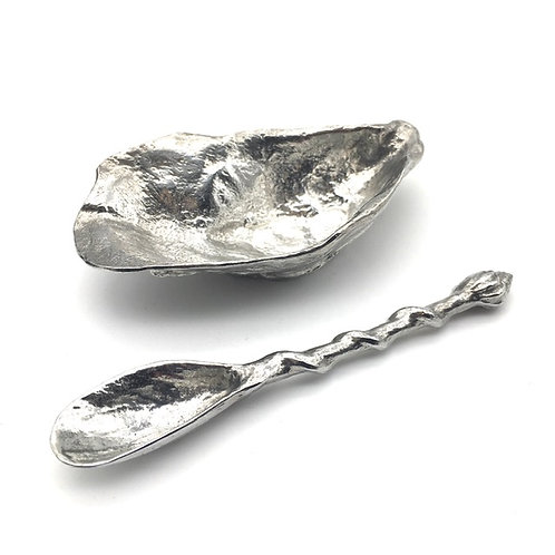 Pewter Oyster Bowl and Mussel Spoon
