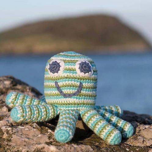 Crochet Octopus Rattle - cool colours