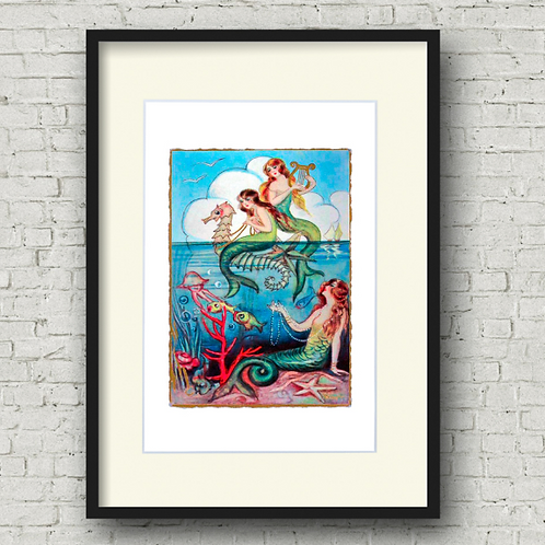 Three Mermaids Print