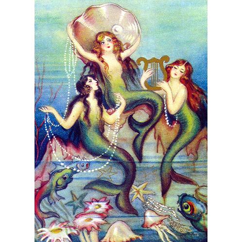 Three Mermaids Greetings Card