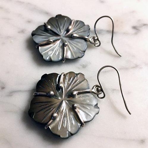 Silver Shell Flower Earrings