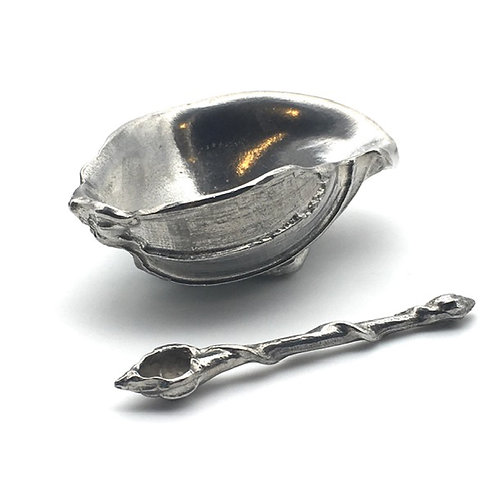 Pewter Shell Bowl and Spoon