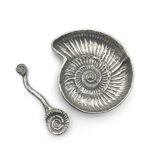 Pewter Ammonite Bowl and Spoon