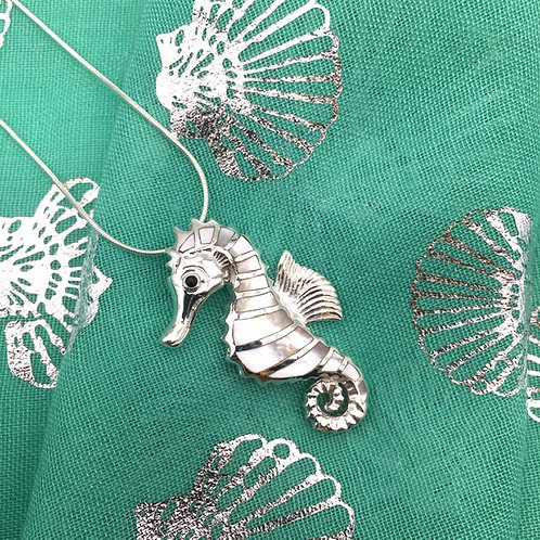 Seahorse Silver and Mother of Pearl Necklace