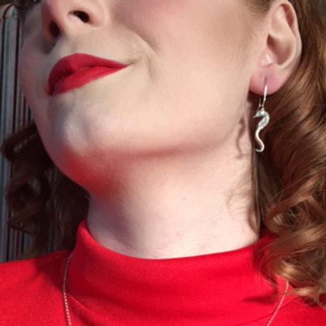 Pewter Seahorse Earrings