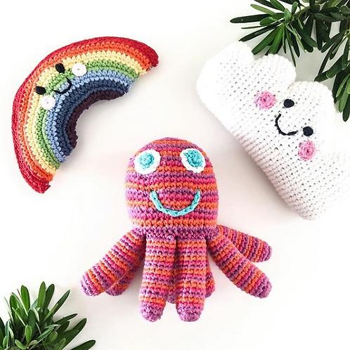 Crochet Octopus Rattle - hot colours