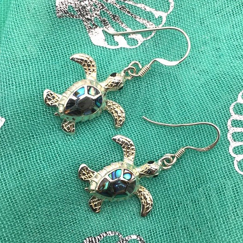 Silver Turtle and Abalone Earrings