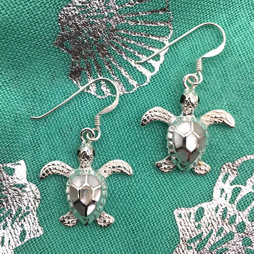 Silver Turtle and Mother of Pearl Earrings