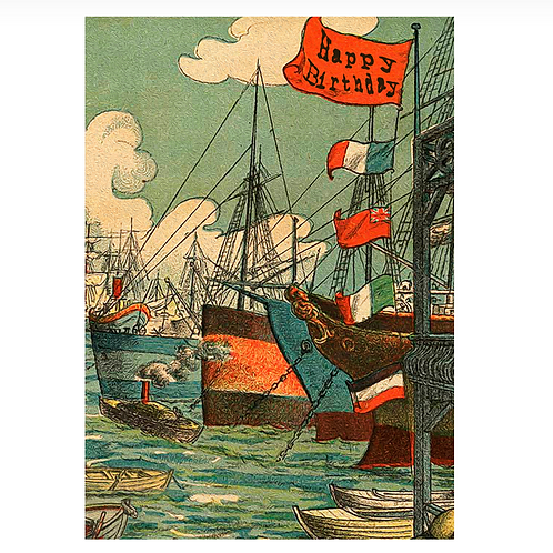 Ships in Port Birthday Card