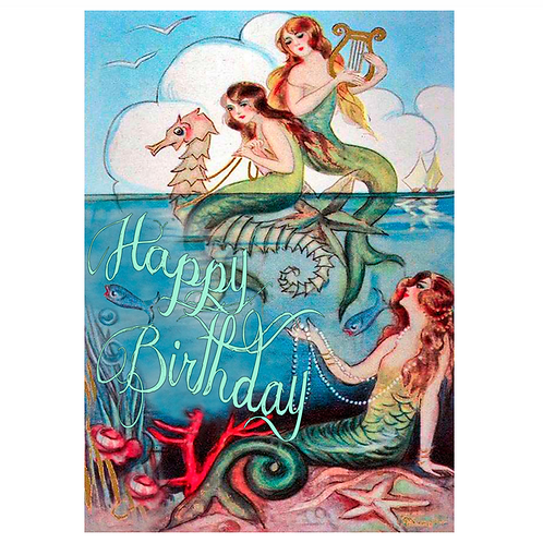 Three Mermaids Birthday Card
