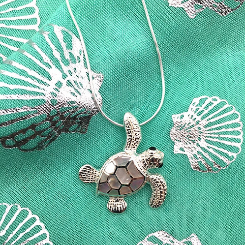 Turtle Silver and Mother of Pearl Necklace