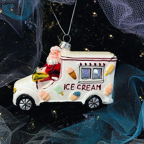 Glass Santa Ice Cream Christmas Decoration