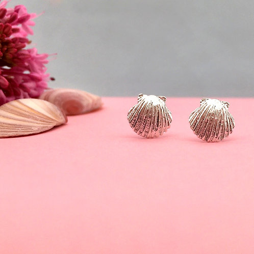 Silver Baby Scallop Stud Earrings