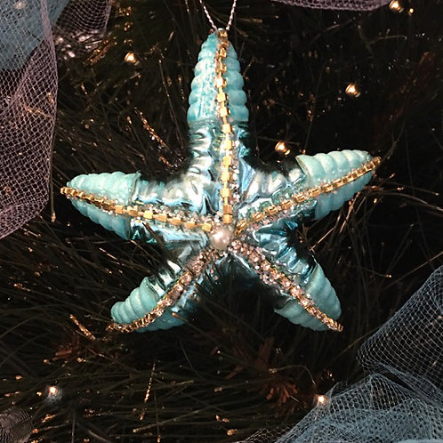 Glass Starfish Christmas Decoration