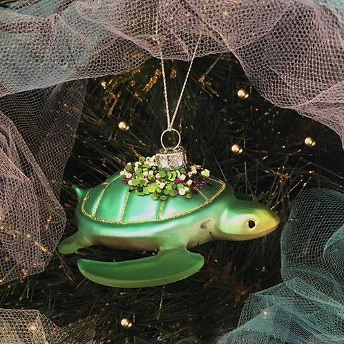 Glass Turtle Christmas Decoration