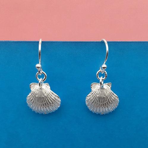 Silver Scallop Drop Earrings