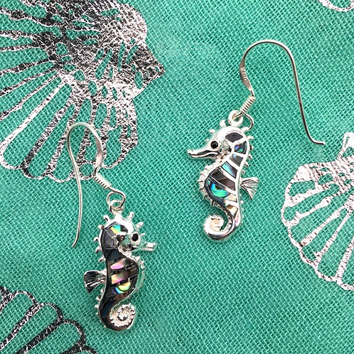 Silver Seahorse and Abalone Earrings