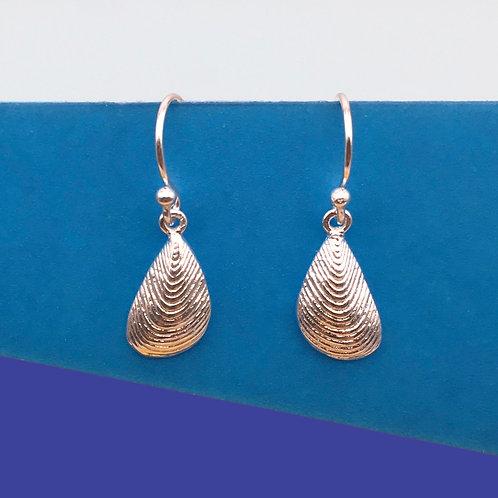 Silver Mussel Drop Earrings