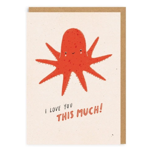 Love You Octopus Greetings Card