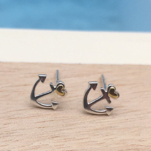 Silver Anchor of Love Stud Earrings