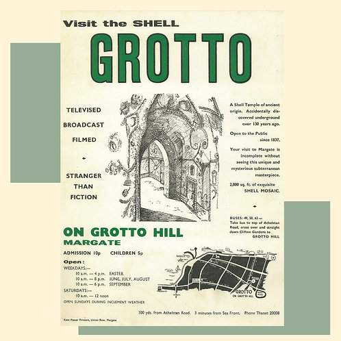 Shell Grotto 70s Poster Greetings Card