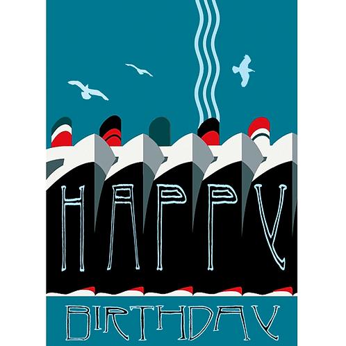 Deco Ships Birthday Card