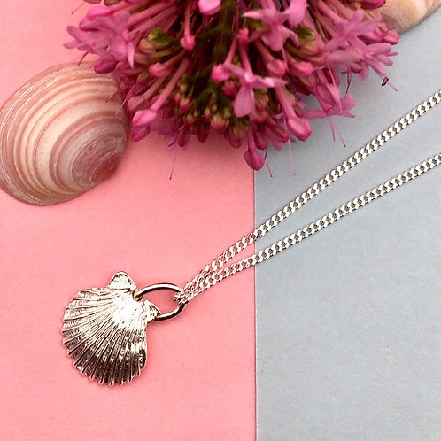 Silver Baby Scallop Necklace