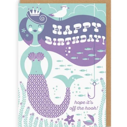 Mermaid Off the Hook Greetings Card